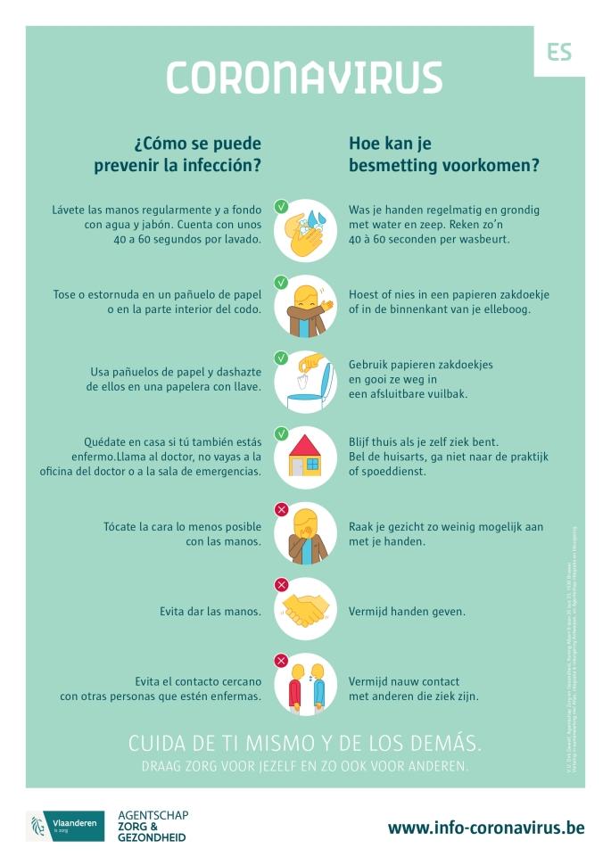 Affiche-Corona-HoeBesmettingVoorkomen-Nederlands-Spaans_page-0001