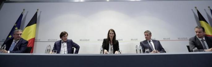 La Primer Ministra de Bélgica, Sophie Wilme en conferencia de prensa con GEES